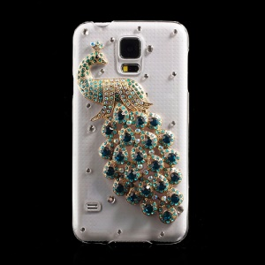 Green Diamante Peacock Crystal Back Cover for Samsung Galaxy S5 G900 GS 5
