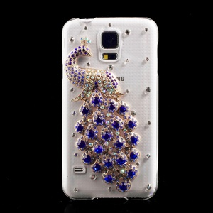 Blue Diamante Peacock PC Crystal Case for Samsung Galaxy S5 G900 GS 5