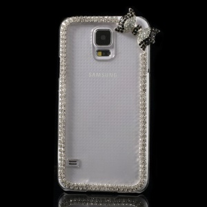 Cute Bowknot Rhinestone Clear Crystal Case for Samsung Galaxy S5 G900 - Black