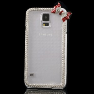 Cute Bowknot Rhinestone Clear Crystal Shell for Samsung Galaxy S5 G900 - Red