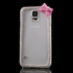 Cute Bowknot Rhinestone Clear Crystal Skin Case for Samsung Galaxy S5 G900 - Pink