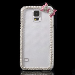 Cute Bowknot Rhinestone Crystal Plastic Case for Samsung Galaxy S5 G900 - Rose