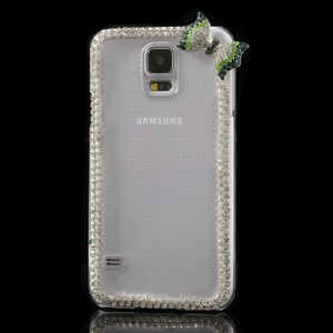 Cute Bowknot Rhinestone Crystal Back Case for Samsung Galaxy S5 G900 - Green