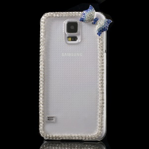 Cute Bowknot Rhinestone Crystal Hard Case for Samsung Galaxy S5 G900 - Blue