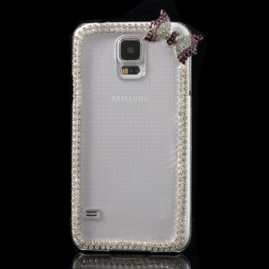 Cute Bowknot Rhinestone Crystal Case Shell for Samsung Galaxy S5 G900 - Purple