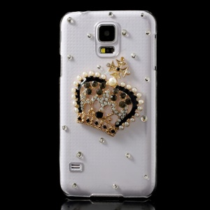 Shiny Rhinestone & Pearl 3D Crown Crystal Cover for Samsung Galaxy S5 SV G900