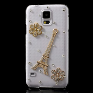 Diamante Eiffel Tower & Flowers Crystal Back Case for Samsung Galaxy S5 GS 5 G900
