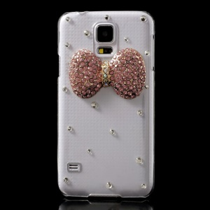 Pink Diamond Bowknot Crystal PC Shell for Samsung Galaxy S5 GS 5 G900