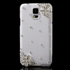Glittery Rhinestone Flowers Crystal Skin Case for Samsung Galaxy S5 G900