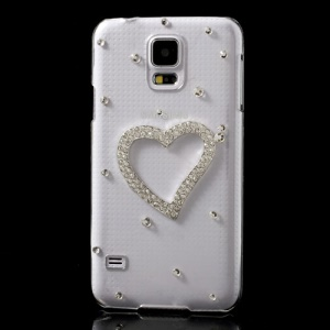 Diamante Hollow Heart Crystal Case Shell for Samsung Galaxy S5 G900