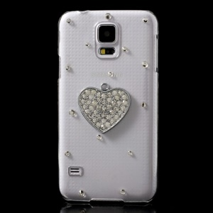 Rhinestone Full Heart for Samsung Galaxy S5 G900 Plastic Crystal Case