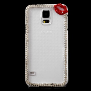 Red Lip Diamante Crystal Plastic Case for Samsung Galaxy S5 G900 GS 5