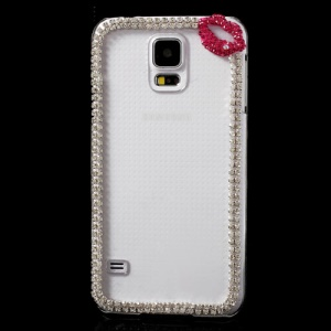 Rose Lip Diamond Clear Crystal Case for Samsung Galaxy S5 G900F G900I G900A