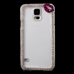 Purple Lip Diamond Clear Crystal Cover for Samsung Galaxy S5 G900M G900T G900P
