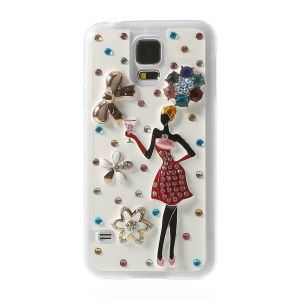 Sexy Beauty & Flowers Rhinestone Plastic Hard Shell for Samsung Galaxy S5 G900