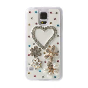 Heart & Flowers for Samsung Galaxy S5 G900K Rhinestone Plastic Back Cover