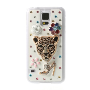 Leopard Head & High-heel Shoe for Samsung Galaxy S5 G900L Rhinestone Plastic Case