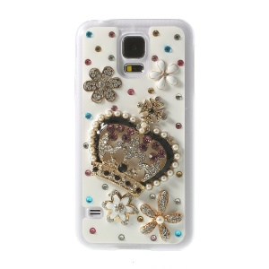 Crown & Flowers for Samsung Galaxy S5 G900S Rhinestone Plastic Shell Case