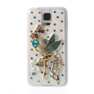 Happy Ballet Girl Winged Angel for Samsung Galaxy S5 G900J Rhinestone Hard Case