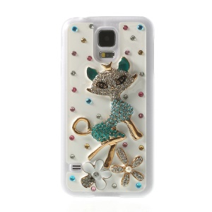 3D Sexy Fox for Samsung Galaxy S5 G900A Rhinestone Plastic Phone Shell