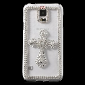 Sparkling Diamante Crucifixion Cross Crystal Plastic Case for Samsung Galaxy S5 G900