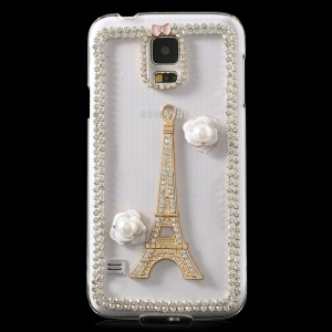 Rhinestone Eiffel Tower & Flowers Crystal Hard Case for Samsung Galaxy S5 G900