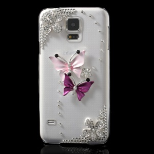 Rhinestone Two Butterflies Clear Crystal Hard Case for Samsung Galaxy S5 G900