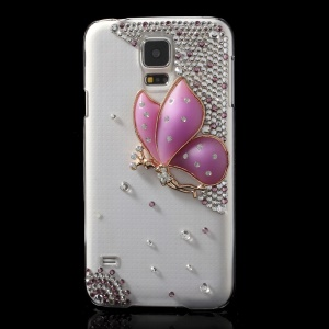 Diamante 3D Rose Butterfly Clear Crystal Hard Cover for Samsung Galaxy S5 G900