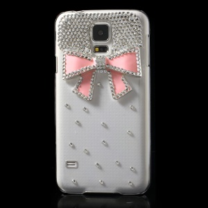 Diamond Pink Bowknot Clear Crystal PC Case Cover for Samsung Galaxy S5 G900