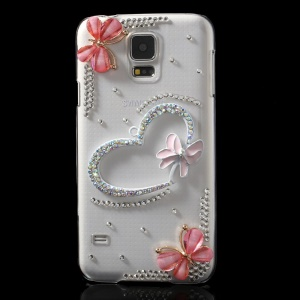 Diamante Heart & Butterflies Crystal Clear Hard Back Case for Samsung Galaxy S5 G900