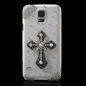 Rhinestone Crucifixion Cross Crystal Clear PC Phone Case for Samsung Galaxy S5 G900
