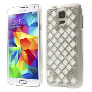 3D Square Crystal Diamond Plastic Cover for Samsung Galaxy S5 G900 - White