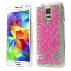 3D Square Crystal Diamond Plastic Cover for Samsung Galaxy S5 G900 - Rose