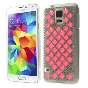 3D Square Crystal Diamond Plastic Case for Samsung Galaxy S5 G900 - Hot Pink