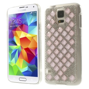 3D Square Crystal Diamond Plastic Case for Samsung Galaxy S5 G900 - Light Pink