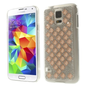 3D Square Crystal Diamond Plastic Case for Samsung Galaxy S5 G900 - Orange