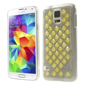 For Samsung Galaxy S5 G900 3D Square Crystal Diamond Hard Case - Yellow