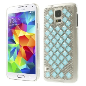 For Samsung Galaxy S5 G900 3D Square Crystal Diamond Hard Back Case - Blue