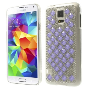 For Samsung Galaxy S5 G900 3D Square Crystal Diamond Hard Case - Deep Purple