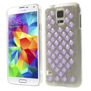 For Samsung Galaxy S5 G900 3D Square Crystal Diamond Hard Shell Case - Lavender