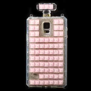 Pink for Samsung Galaxy S5 G900 Bling Diamond Perfume Bottle TPU Back Cover