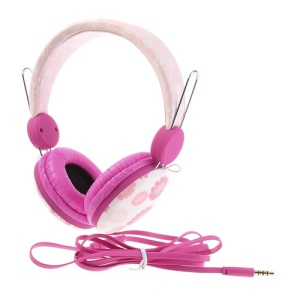 Pink Wallytech WTE-526 On-Ear Flat Cable Stereo Headphone with Mic for iPhone Samsung HTC LG