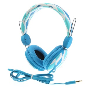 Blue Wallytech WTE-526 On-Ear Flat Cable Stereo Headphone with Mic for iPhone Samsung HTC LG