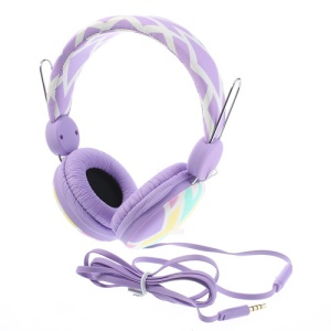 Purple Wallytech WTE-526 On-Ear Flat Cable Stereo Headphone with Mic for iPhone Samsung HTC LG
