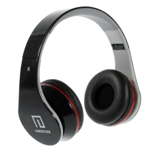Black Langston iM-12v Overhead Stereo Headphone with Mic for iPhone Samsung HTC LG Sony MP3 MP4 Etc
