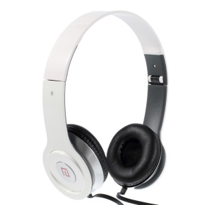 White Langston IM-6 Super Bass Foldable Over-ear Headset with Mic for iPhone iPad Samsung HTC LG Huawei Xiaomi etc