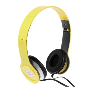 Yellow Langston IM-6 Super Bass Foldable Over-ear Headphone with Mic for iPhone iPad Samsung HTC LG Huawei Xiaomi etc