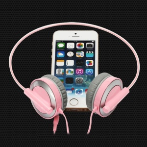 Pisen HD100 3.5mm HiFi Flexiable Over-ear Headset - Pink