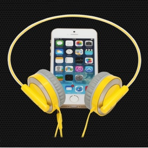 Pisen HD100 3.5mm HiFi Flexiable Over-ear Headset with 1.5M Flat Cable - Yellow