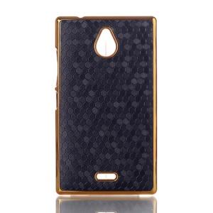 Black Football Grain Leather Coated Hard Case for Nokia X2 1013 Dual SIM